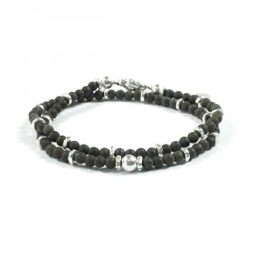 Bracciale Uomo Double - Pyrite Frosted - Argento - KD705S