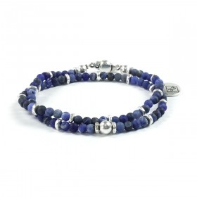 Bracciale Uomo Double - Sodalite Frosted - Argento - KD706S